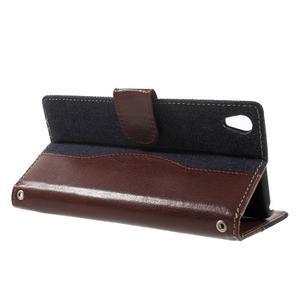 Jeansy PU kožené/textilní pouzdro na Sony Xperia XA - tmavěmodré - 3