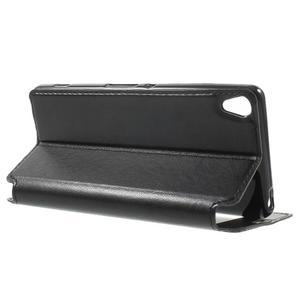 Royal PU kožené pouzdro s okýnkem na Sony Xperia XA - černé - 3