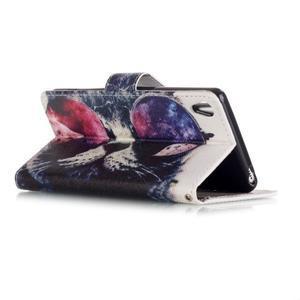 Emotive PU kožené knížkové pouzdro na Sony Xperia XA - cool kočka - 3