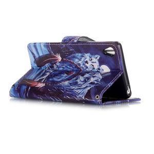 Emotive PU kožené knížkové pouzdro na Sony Xperia XA - mýtičtí vlci - 3