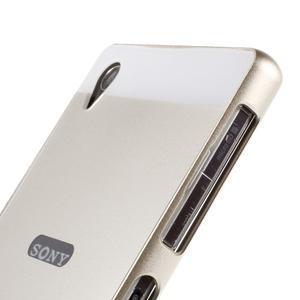 Kovový kryt s plastovými zády na Sony Xperia Z1 - zlatý - 3