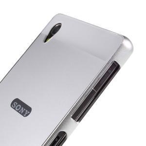 Kovový kryt s plastovými zády na Sony Xperia Z1 - stříbrný - 3