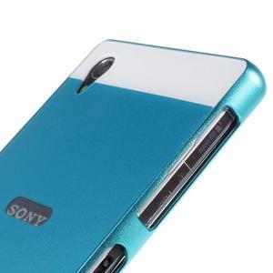 Kovový kryt s plastovými zády na Sony Xperia Z1 - modrý - 3