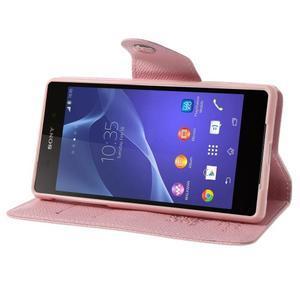 Stylové peněženkové pouzdro na Sony Xperia Z2 - růžové - 3