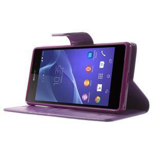 Sonata PU kožené pouzdro na mobil Sony Xperia Z2 - fialové - 3