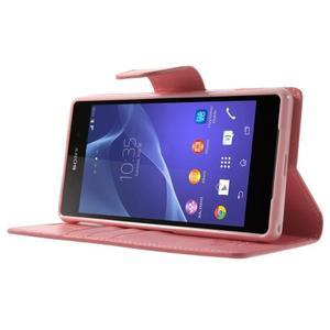 Sonata PU kožené pouzdro na mobil Sony Xperia Z2 - růžové - 3