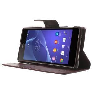 Sonata PU kožené pouzdro na mobil Sony Xperia Z2 - vínové - 3