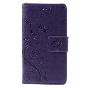 Butterfly PU kožené pouzdro na mobil Sony Xperia Z3 Compact - fialové - 3