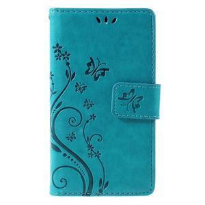 Butterfly PU kožené pouzdro na mobil Sony Xperia Z3 Compact - modré - 3