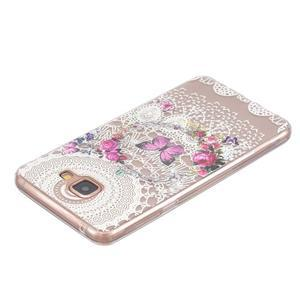 Slim průhledný gelový obal na Samsung Galaxy A3 (2016) - květinový motýl - 3