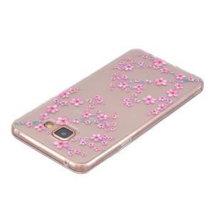Slim průhledný gelový obal na Samsung Galaxy A3 (2016) - květy svěstky - 3