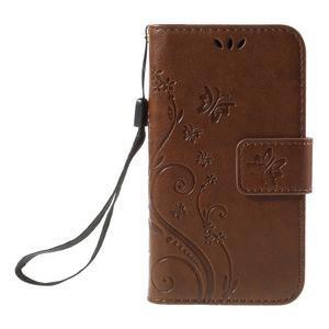 Butterfly pouzdro na mobil Samsung Galaxy Trend 2 Lite - hnědé - 3