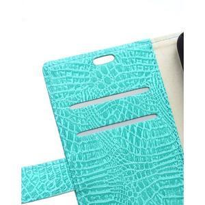 Croco peněženkové pouzdro na Samsung Galaxy Trend 2 Lite - cyan - 3