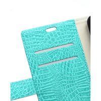 Croco peněženkové pouzdro na Samsung Galaxy Trend 2 Lite - cyan - 3/3