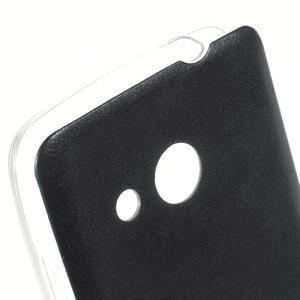 Gelový obal s jemnou koženkou na Microsoft Lumia 550 - černý - 3