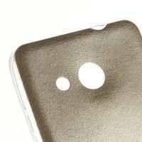 Gelový obal s jemnou koženkou na Microsoft Lumia 550 - zlatý - 3/4