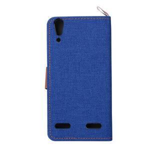 Jeans PU kožené/textilní pouzdro na mobil Lenovo A6000 - tmavěmodré - 3
