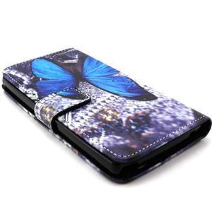 Peneženkové pouzdro na mobil LG G4c - modrý motýl - 3