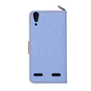 Jeans PU kožené/textilní pouzdro na mobil Lenovo A6000 - světlemodré - 3