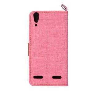 Jeans PU kožené/textilní pouzdro na mobil Lenovo A6000 - růžové - 3
