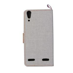 Jeans PU kožené/textilní pouzdro na mobil Lenovo A6000 - šedé - 3