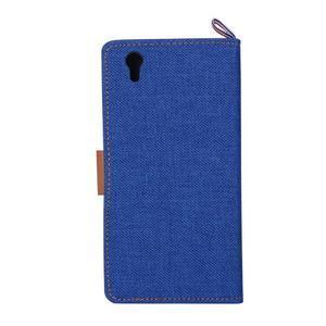 Jeans PU kožené/textilní pouzdro na mobil Lenovo P70 - tmavěmodré - 3
