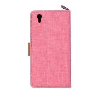 Jeans PU kožené/textilní pouzdro na mobil Lenovo P70 - růžové - 3
