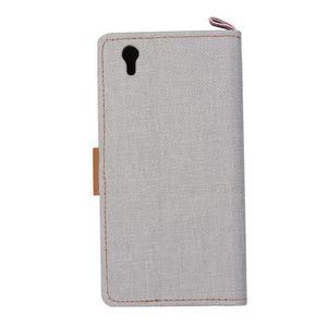 Jeans PU kožené/textilní pouzdro na mobil Lenovo P70 - šedé - 3
