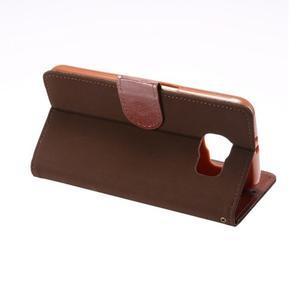 Business látkové/PU kožené pouzdro na Samsung Galaxy S6 - hnědé - 3
