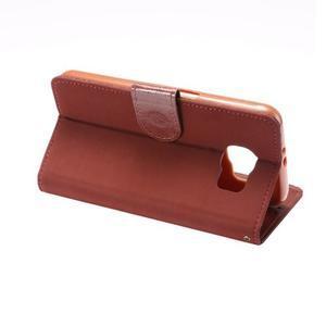 Business látkové/PU kožené pouzdro na Samsung Galaxy S6 - červenohnědé - 3