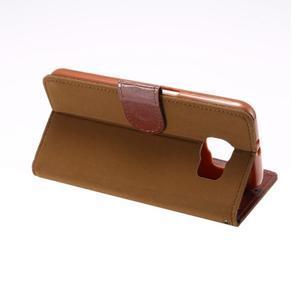 Business látkové/PU kožené puzdro pre Samsung Galaxy S6 - svetlo hnedé - 3