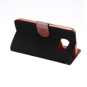 Business látkové/PU kožené pouzdro na Samsung Galaxy S6 - černé - 3