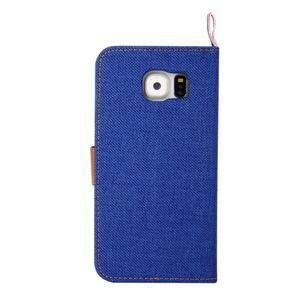 Jeans stylové textilní/PU kožené pouzdro na Samsung Galaxy S6 - modré - 3