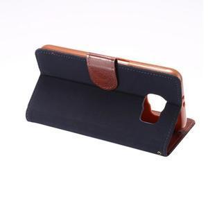 Business látkové/PU kožené pouzdro na Samsung Galaxy S6 - tmavěmodré - 3