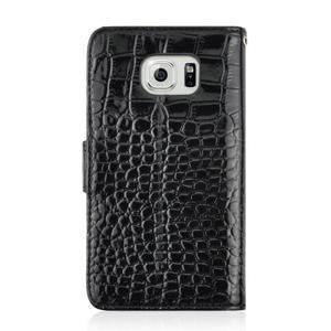 Croco motiv koženkového pouzdra na Samsung Galaxy S6 - černé - 3