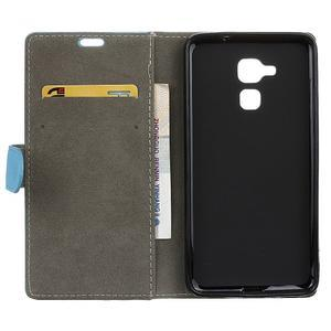 Peněženkové PU kožené pouzdro na mobil Honor 7 Lite - modré - 3