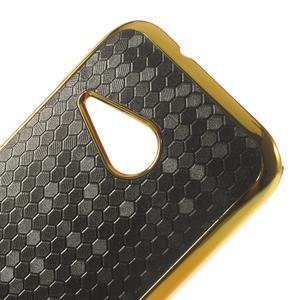 Plastový kryt se zlatým lemem na HTC One mini 2 - černý - 3