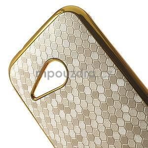 Plastový kryt se zlatým lemem na HTC One mini 2 - bílý - 3