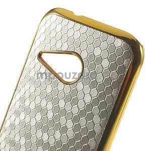 Plastový kryt se zlatým lemem na HTC One mini 2 - stříbrný - 3