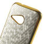 Plastový kryt se zlatým lemem na HTC One mini 2 - stříbrný - 3/5