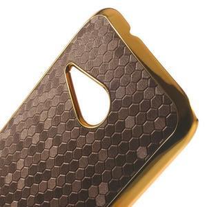 Plastový kryt se zlatým lemem na HTC One mini 2 - tmavě hnědý - 3