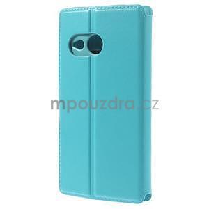 Tyrkysové peněženkové pouzdro na HTC One mini 2 - 3