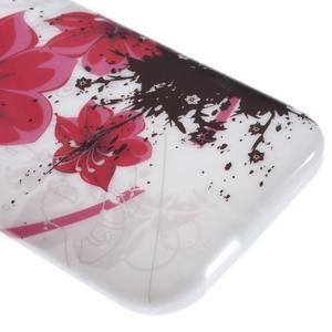 Gelový kryt na HTC One mini 2 - červené květiny - 3