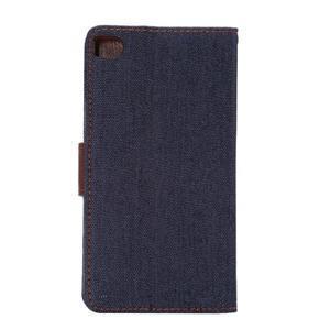 Stylové peněženkové pouzdro Jeans na Huawei Ascend P8 - černomodré - 3