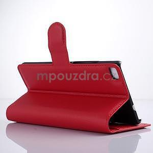 PU kožené peněženkové pouzdro na Huawei Ascend P8 - červený - 3