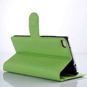 PU kožené peněženkové pouzdro na Huawei Ascend P8 - zelený - 3