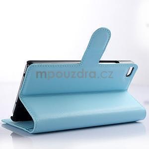 PU kožené peněženkové pouzdro na Huawei Ascend P8 - modrý - 3