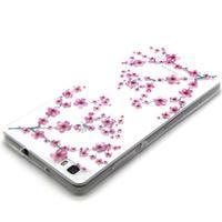 Transparentní gelový obal na Huawei Ascend P8 Lite - květy třešní - 3/4