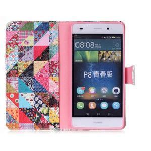 Pouzdro na mobil Huawei P8 Lite - koláž trojúhelníčků - 3