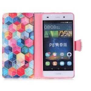 Pouzdro na mobil Huawei P8 Lite - barevné hexagony - 3
